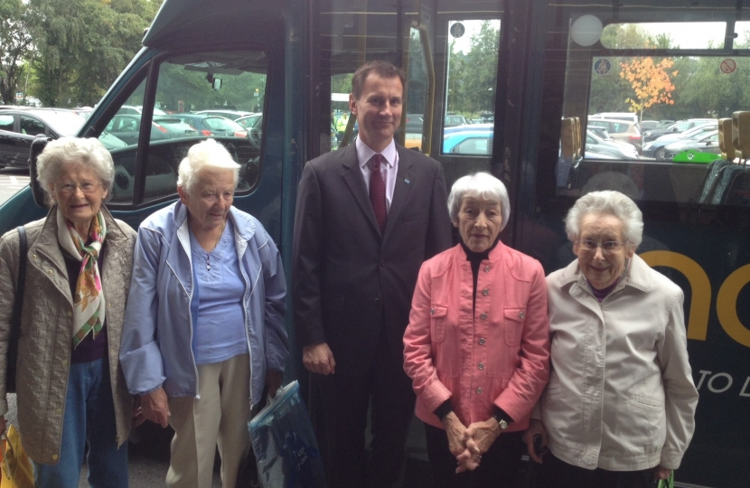 Jeremy Hunt MP for South West Surrey with hoppa customers