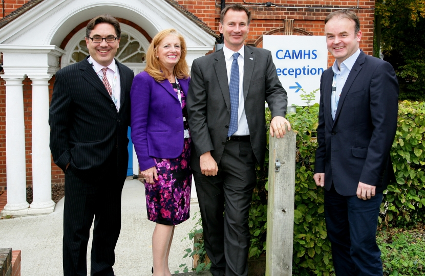 (Left to right) Dr Phil Ferrerira-Lay, Clinical Lead and CAMHS Consultant; Linda McQuaid, Director of Children and Young People's Services; Jeremy Hunt MP South West Surrey and Dr Justin Wilson, Co-Medical Director