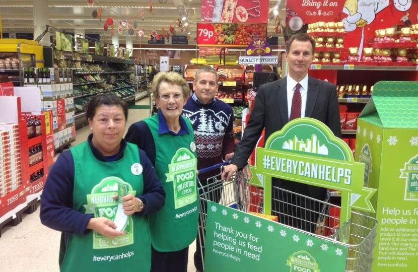 Jeremy hunt, food bank, Haslemere Tesco