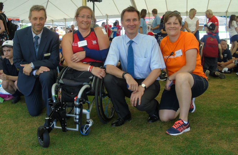 Jeremy Hunt MP with Paralympian, Racahel Morris MBE