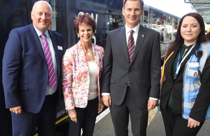 Andy Mellors (Managing Director SWR), Anne Milton MP, Jeremy Hunt MP and Chelle Miller (Guildford manager)